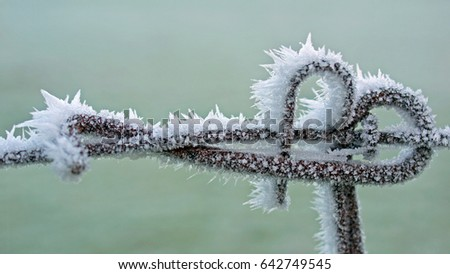 Join section of an old metal fence frozen with ice spikes after a hoar frost with pastel green background