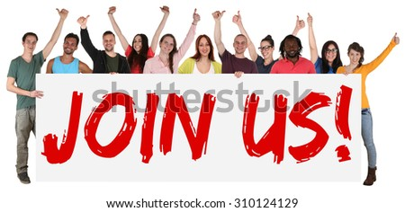 Join us sign group of young students multi ethnic people holding banner isolated - stock photo