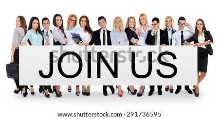 Join us word writing on white banner - stock photo