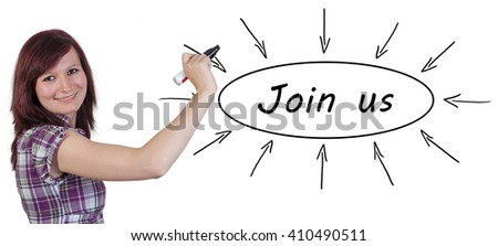 Join us - young businesswoman drawing information concept on whiteboard.  - stock photo