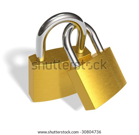 Joined padlocks