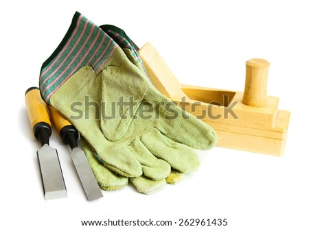 Joiner's works. Working tools on a white background.