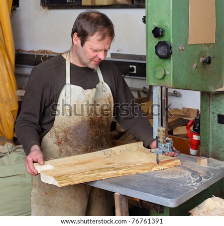 Joiner work in his workshop. - stock photo