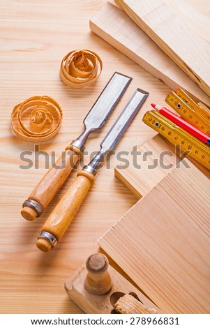 joiners tools chisels plane meter pencil  - stock photo