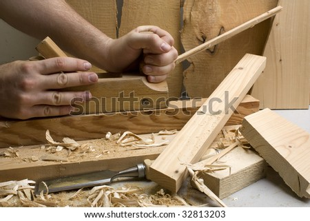 Joinery workshop with wood tools - closeup - stock photo
