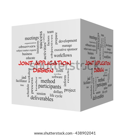 Joint Application 3D Illustration Word Cloud Concept in red caps with great terms such as workflows, meetings, projects and more. - stock photo
