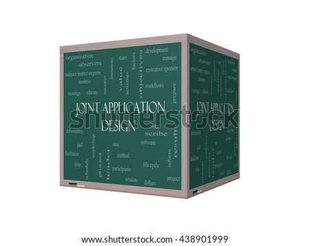 Joint Application 3D Illustration Word Cloud Concept on a Blackboard with great terms such as workflows, meetings, projects and more. - stock photo