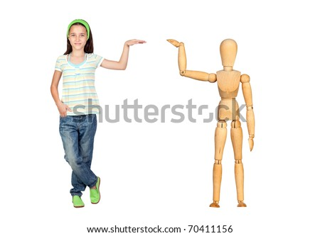 Jointed wooden mannequin isolated on white background - stock photo