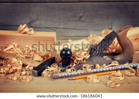 jointer and tools - stock photo