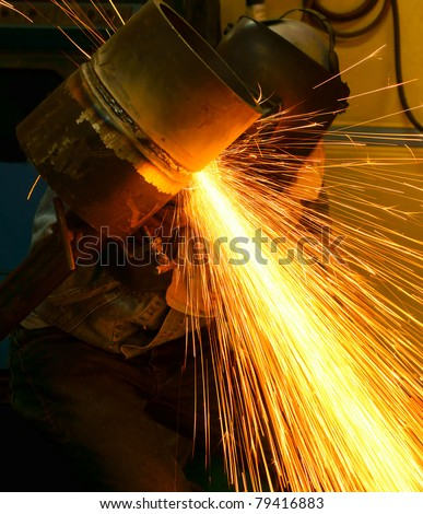 jointing pipe work is in progress - stock photo