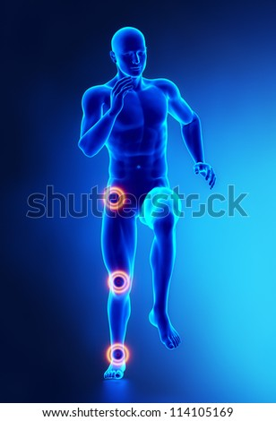 Joints leg injury concept frontal view - stock photo