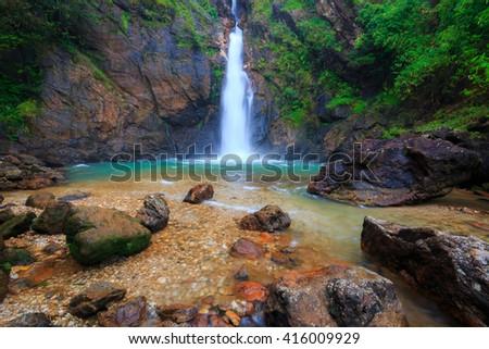 Jok Ka Din Waterfall, beautiful waterfall in rainforest at Thong Pha Phum National Park, Kanchanaburi, Thailand - stock photo