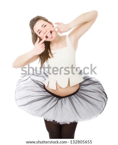 joke faces for a classical dancer - stock photo