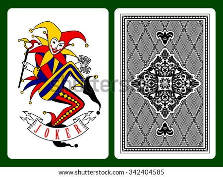 Joker playing card and black backside background. Original design - stock photo
