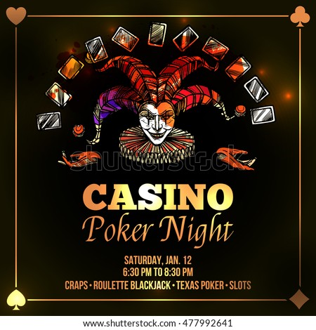 Joker poster with casino and poker night advertisement flat  illustration