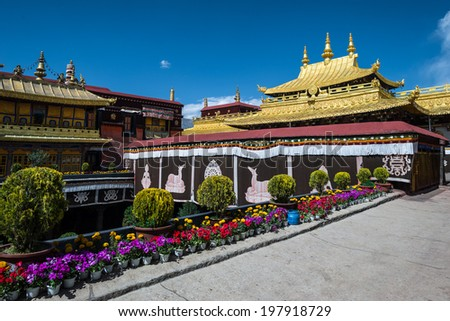 Jokhang temple in Lhasa, Tibet - stock photo