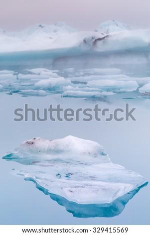 Jokulsarlon Glacial ice lagoon. Iceland. Stunning landscape at the base the Glacier and near diamond beach - stock photo
