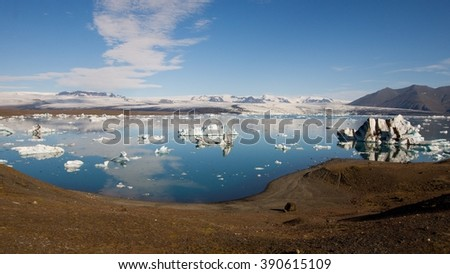 Jokulsarlon glacial lake in Iceland - stock photo