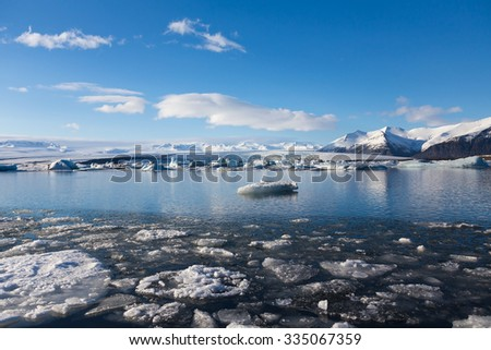 Jokulsarlon glacial lake with clear blue sky, Iceland