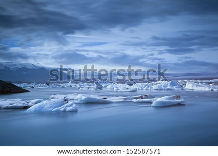 Jokulsarlon Glacier Lagoon. Long exposure image of the J�¶kuls�¡rl�³n Glacier Lagoon. It is located in the southern part of Iceland. - stock photo