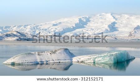 Jokulsarlon Glacier Lagoon, South Iceland - stock photo