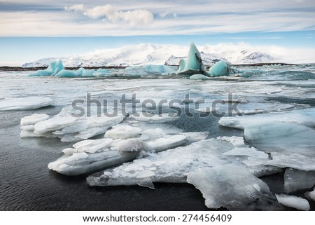 Jokulsarlon Glacier, Southern of Iceland - stock photo