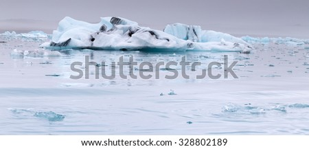 Jokulsarlon ice lagoon. Glacier pieces in Iceland.