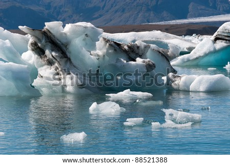 Jokulsarlon icebergs on the lake in Iceland