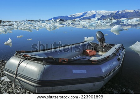 Jokulsarlon is a large glacial lake in Iceland, on the borders - stock photo