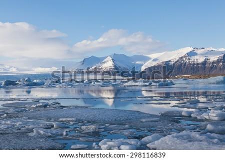Jokulsarlon lagoon, Beautiful cold landscape picture of icelandic glacier lagoon bay, Iceland - stock photo