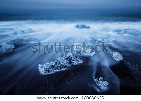 Jokulsarlon with icebergs beached. Iceland.  - stock photo