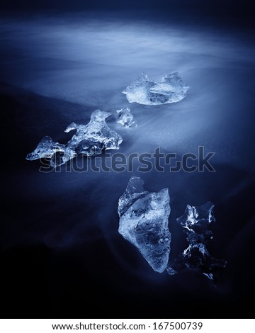 Jokulsarlon with icebergs beached. Iceland - stock photo