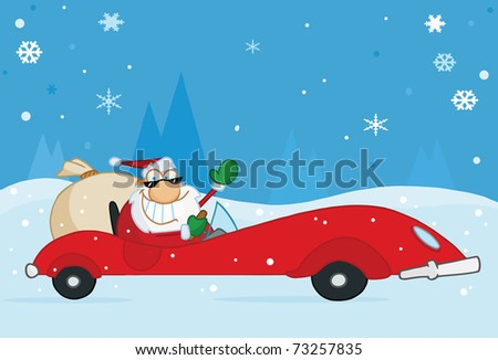 Jolly Christmas Santa Waving And Driving His Convertible Red Sports Car In The Snow - stock photo