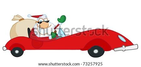 Jolly Christmas Santa Waving And Driving His Red Sports Car - stock photo