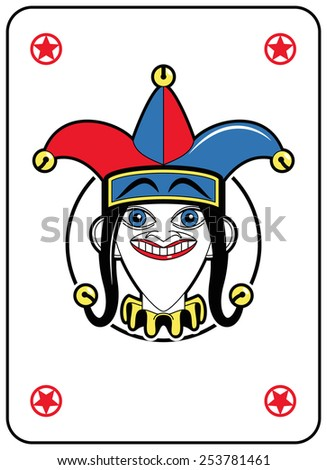Jolly Face in a circle playing card  - stock photo