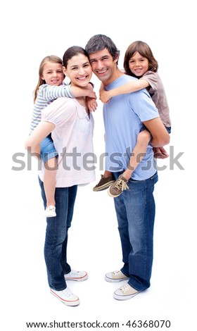 Jolly parents giving their children a piggyback ride against a white background