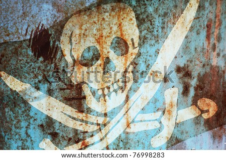 Jolly Rodger Pirate themed concept, rusty background - stock photo