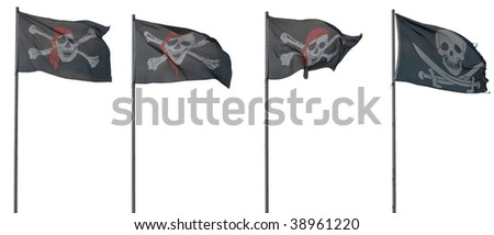 Jolly Roger flags. isolated on white - stock photo