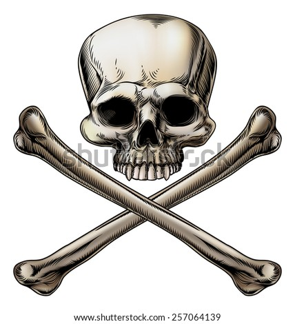 Jolly roger illustration of a skull above a pair of crossed bones - stock photo
