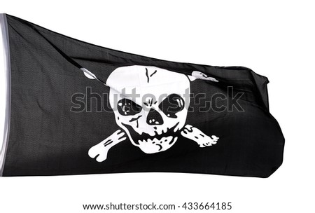 Jolly Roger (pirate flag) isolated on white background