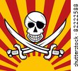 Jolly Roger pirate flag la Jack Rackham with skull, blindfold and two crossing swords in front of a stylized sunset / sunrise. - stock photo
