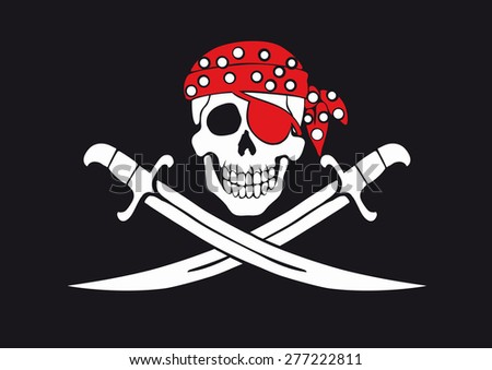 Jolly Roger pirate flag with skull and swords in bandana - stock photo