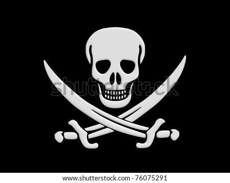 Jolly Roger skull and crossed swords - stock photo