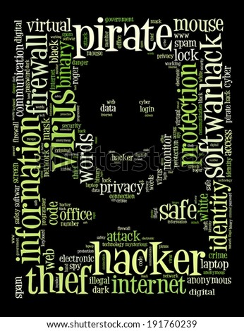Jolly Roger, the piratess flag on the words regarding computer security and hackers.  - stock photo