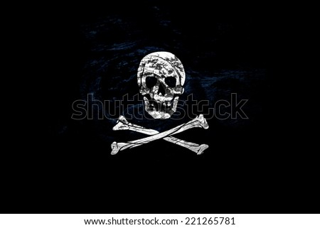 Jolly roger, wooden texture.