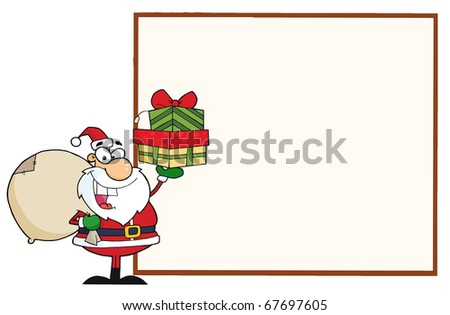Jolly Santa Holding A Sack Over His Shoulder And Gifts Presenting A Blank Sign Board