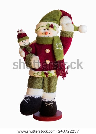 jolly snowman at Christmas, isolated on white background - stock photo