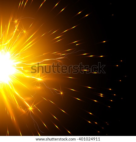 Jolt of electricity, the bright rays of the sun, molten lava - stock photo