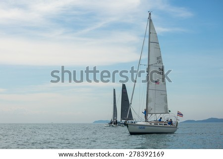 JOMTIEN, THAILAND - MAY 01 : Amour THA143 ship on race Top of the Gulf Regatta event at Jomtien beach Pataya May 01, 2015