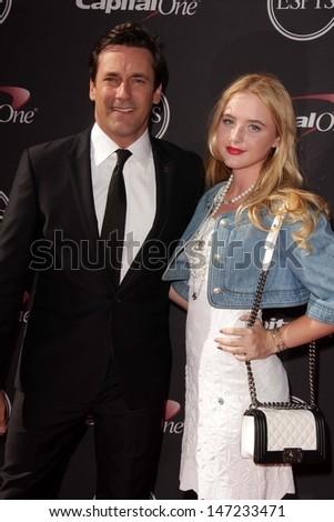 Jon Hamm and Kathryn Newton at The 2013 ESPY Awards, Nokia Theatre L.A. Live, Los Angeles, CA 07-17-13 - stock photo